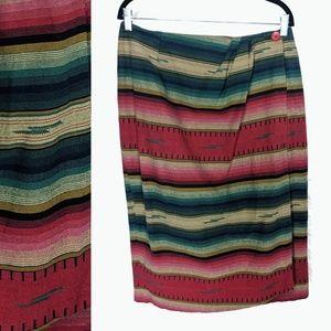 Vintage Bonjour Southwestern Print Wrap Skirt L